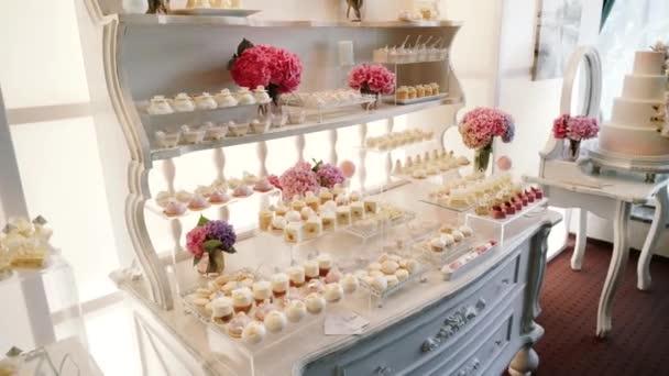 Weiss Candy Bar Hochzeit Sussigkeiten Buffet Nahaufnahme Und Drehen