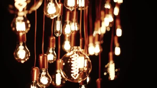 Old Lamp Incandescent lamp in antique style. Decorative antique edison style filament light bulbs hot spiral of tungsten bulb