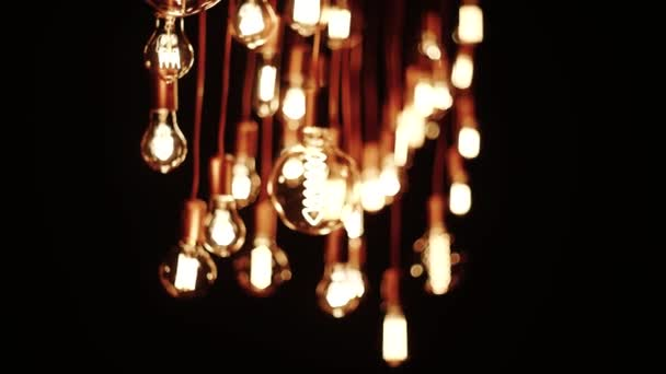 Decoration. Old Lamp Incandescent lamp in antique style. Decorative antique edison style filament light bulbs hot spiral of tungsten bulb