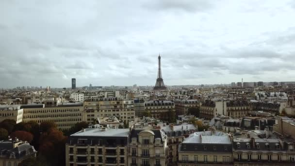 Aerial drone view Paris City Away From Eiffel tower and Traffic Circle, Francie