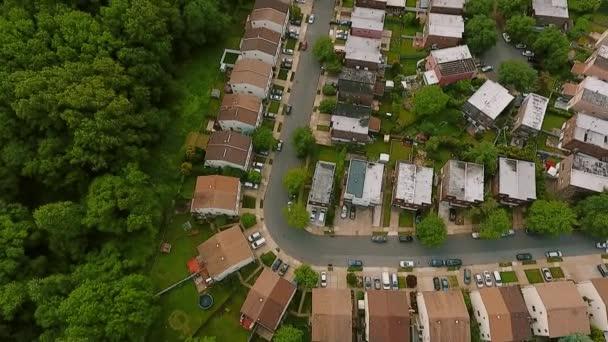 Aerial view Establishing shot of american neighborhood,, suburb. Real estate, drone shots, Top view