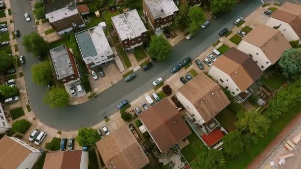 Aerial view Establishing shot of american neighborhood, suburb. Real estate, drone shots,