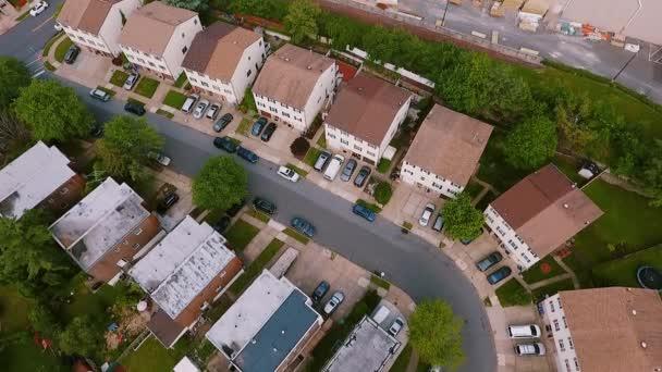Real estate, drone shots Establishing shot of american neighborhood,, suburb. , Top view