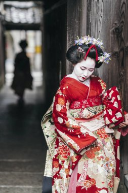 Maiko geisha on street of Gion