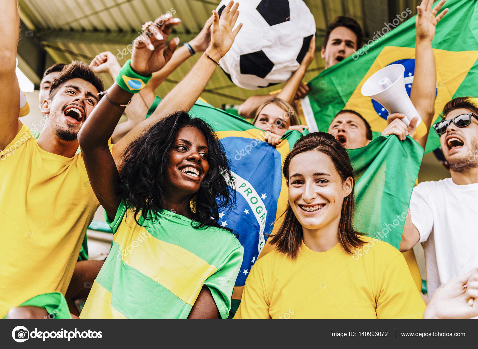 supporters from brazil at stadium stock photo juripozzi 140993072