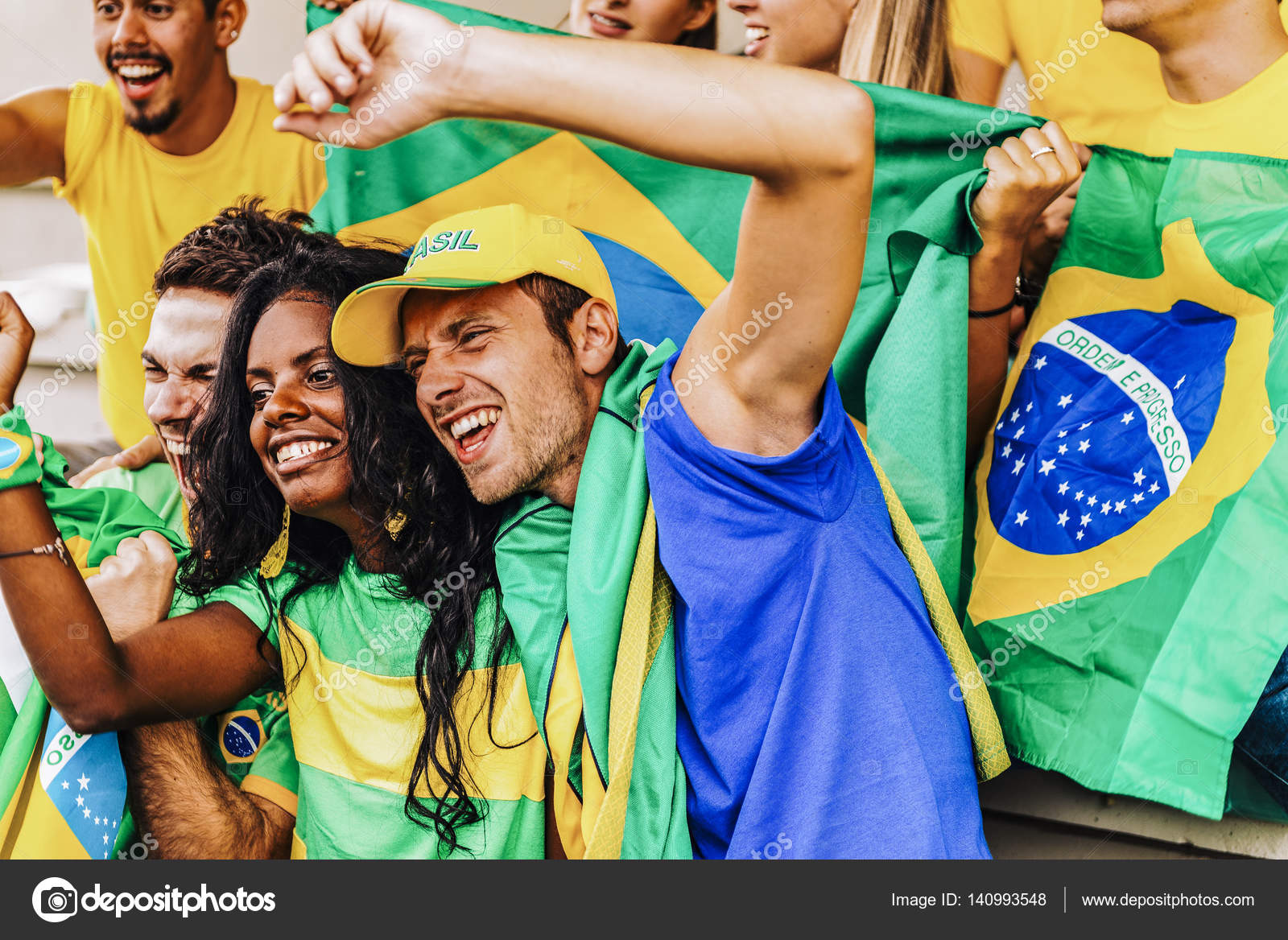 supporters from brazil at stadium stock photo juripozzi 140993548
