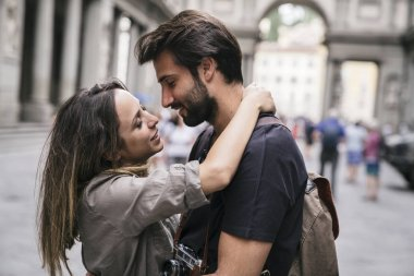 loving couple in Florence