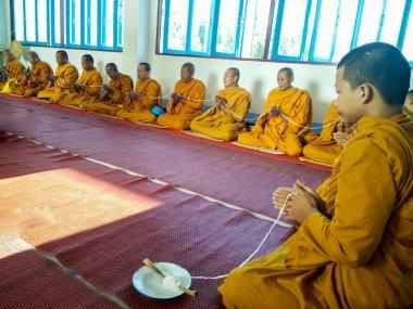 Monks Praying in sisaket Temple of SISAKET, THAILAND 2016