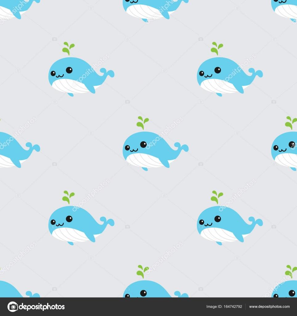 Background Wallpaper Cute Cute Whales Seamless Pattern