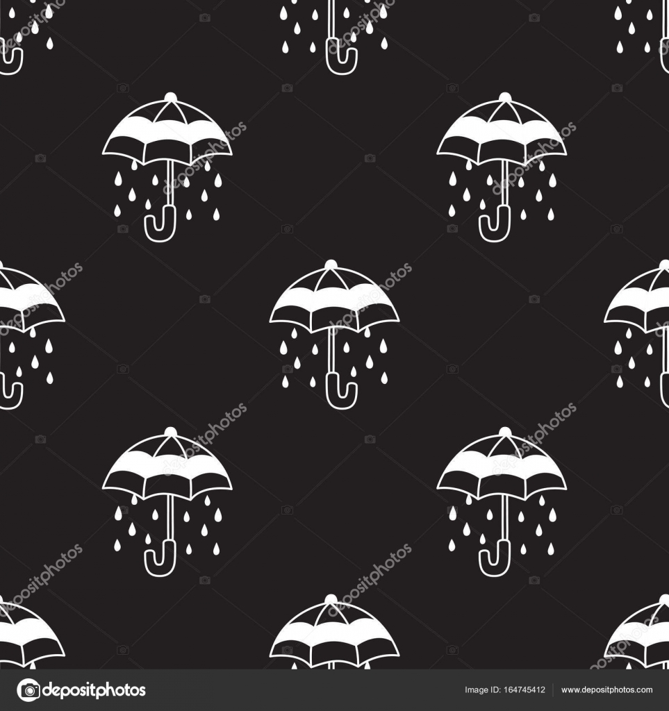 Umbrella Rain Doodle Vector Seamless Pattern Wallpaper Background Black Stock