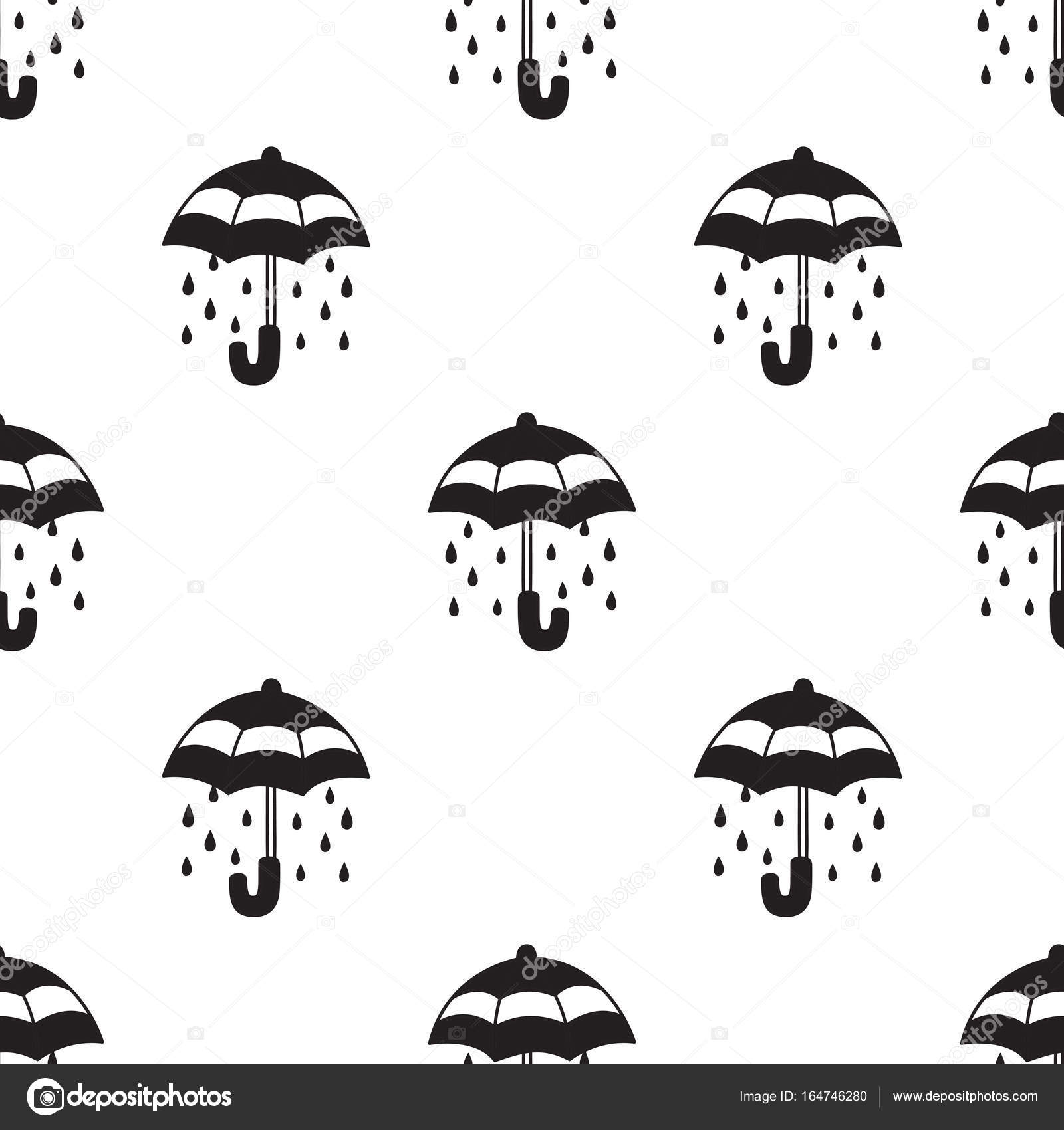 Umbrella Rain Doodle Vector Seamless Pattern Wallpaper Background White Stock