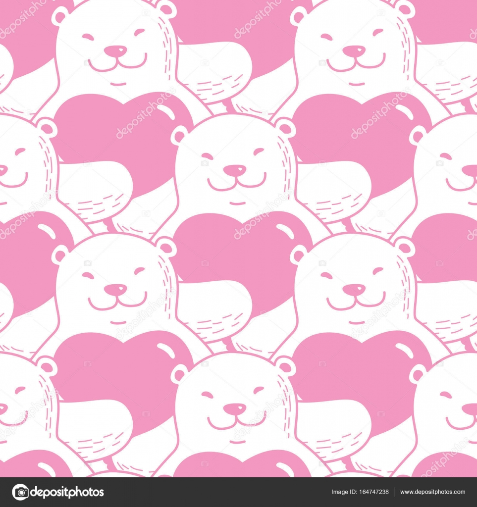 Bear Hug Heart Valentine Doodle Seamless Pattern Wallpaper