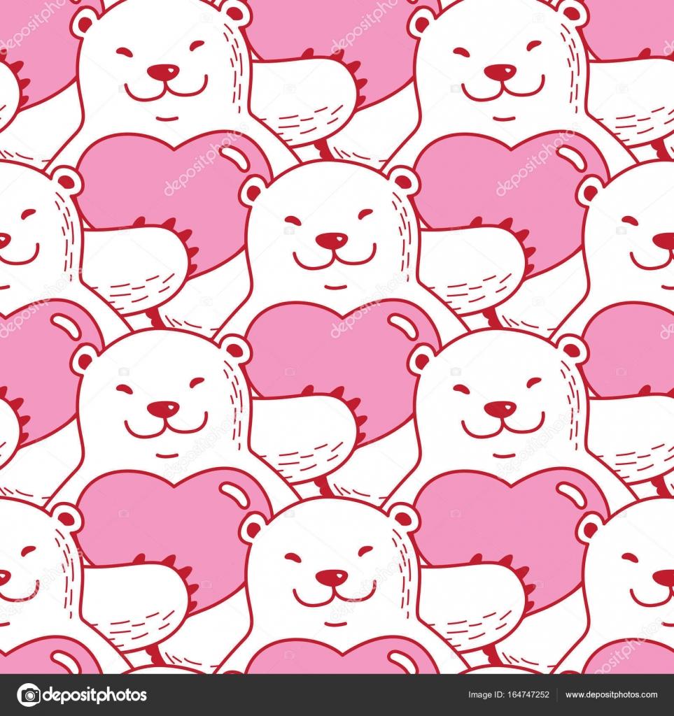 Bear Polar Hug Red Heart Valentine Doodle Vector Seamless Pattern Wallpaper Background Pink Stock