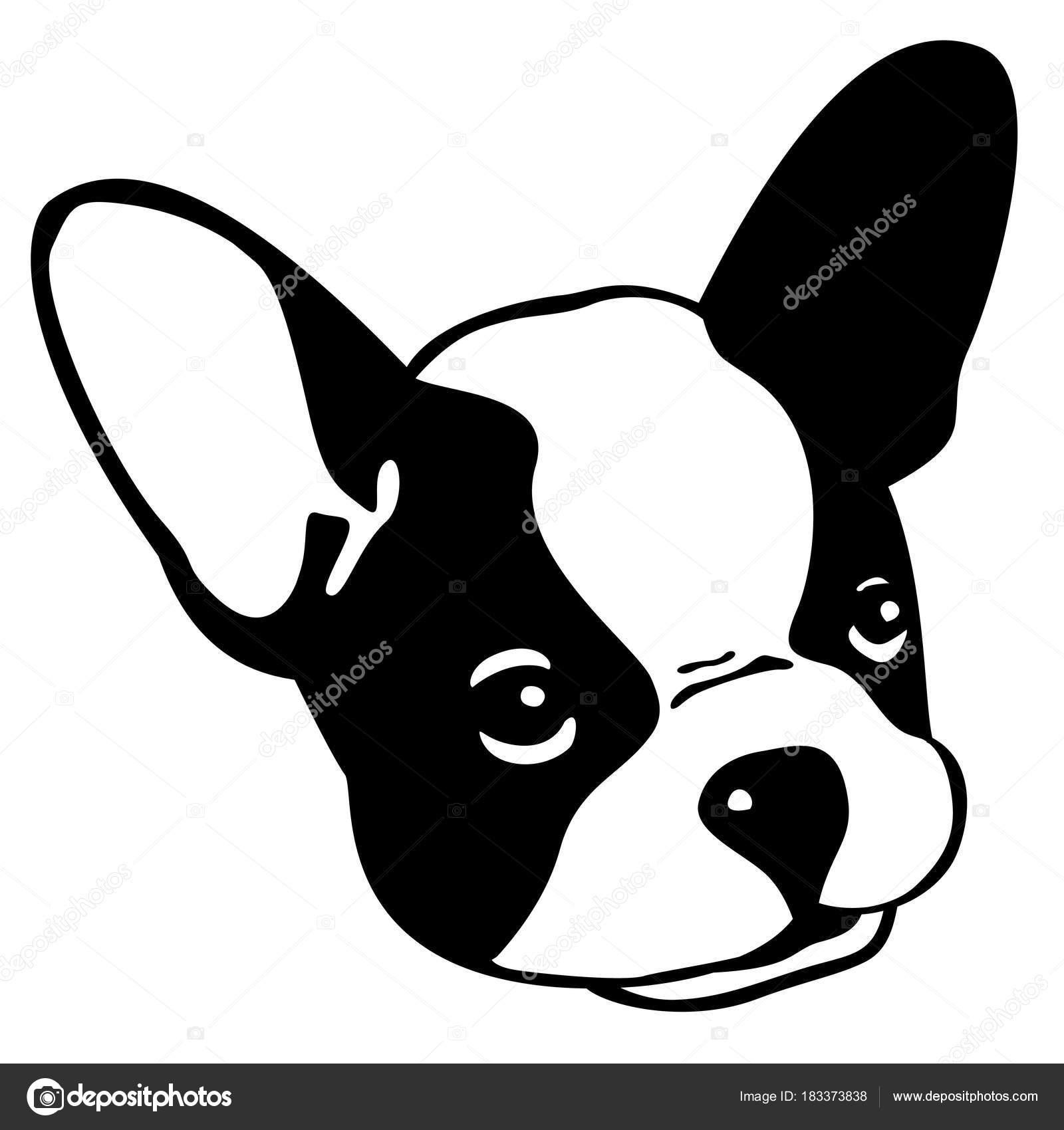 顔イラスト 犬フレンチ ブルドッグ ベクトル アイコン頭 ストック