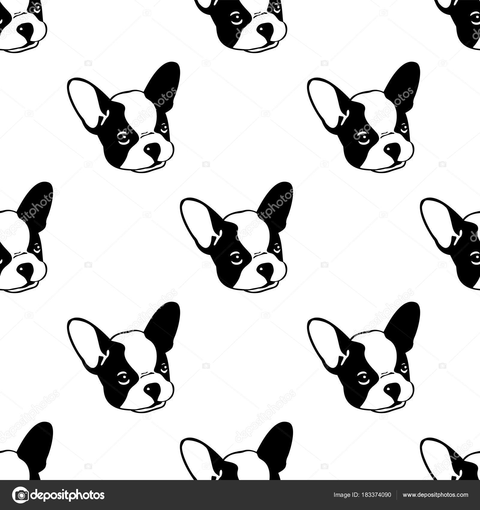 Dog Seamless Pattern French Bulldog Head Vector Isolated Background