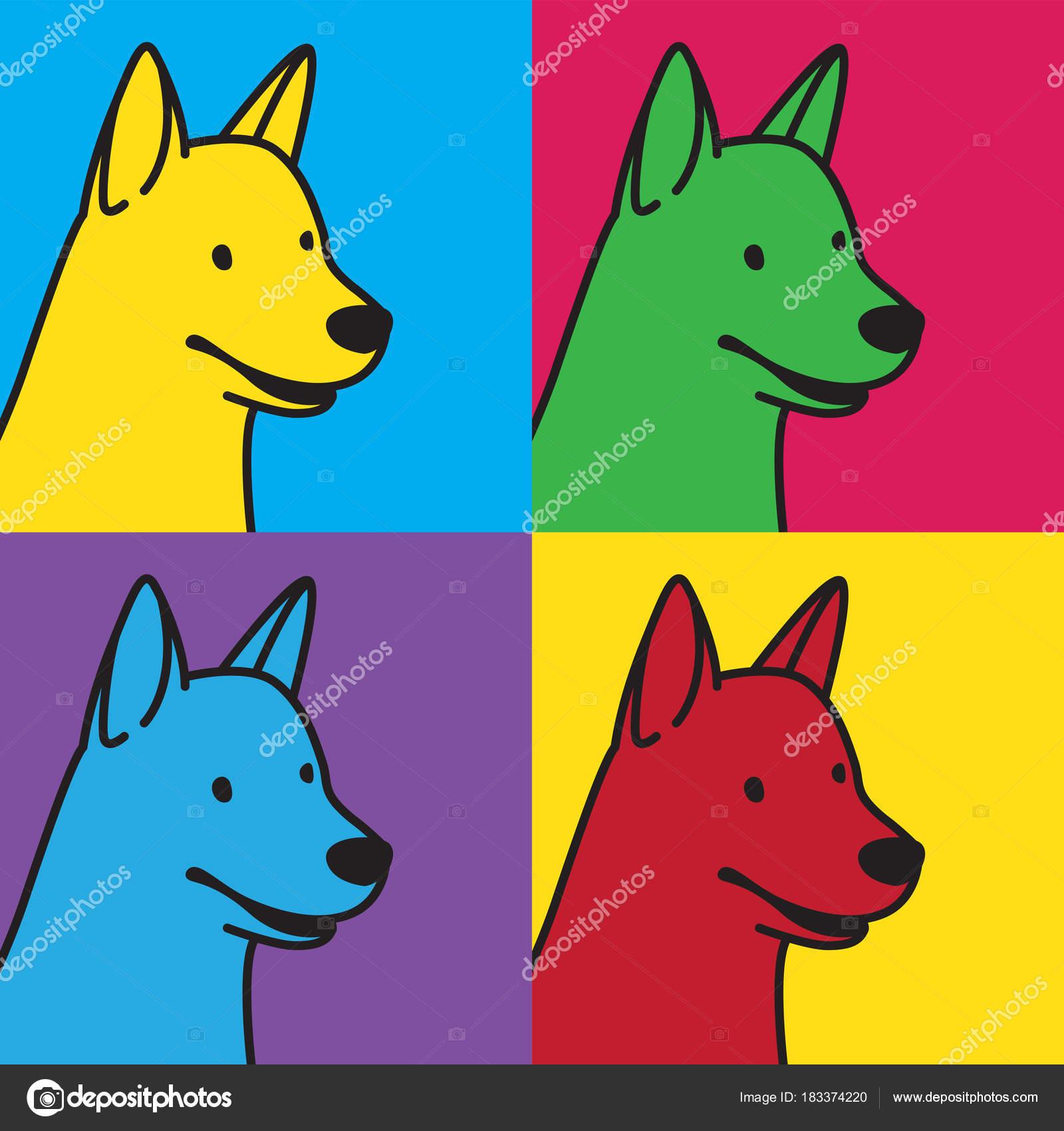 犬犬ブルドッグ ヘッド顔ベクトル イラスト アイコン ポップ アート