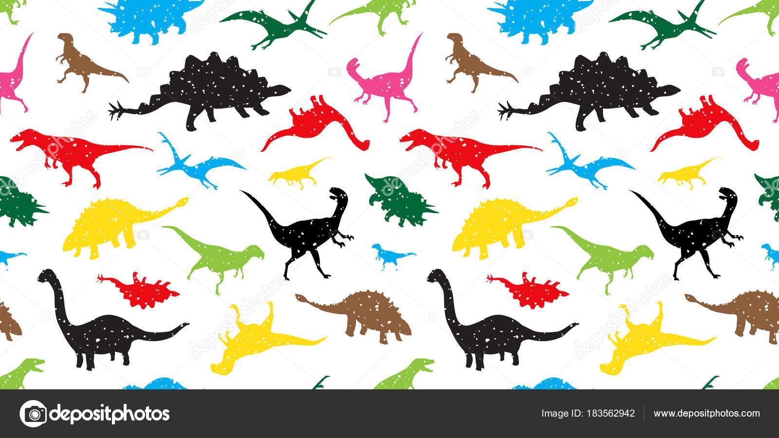 Dino Dinosaurier Musterdesign Vektor Isoliert Wallpaper Hintergrund
