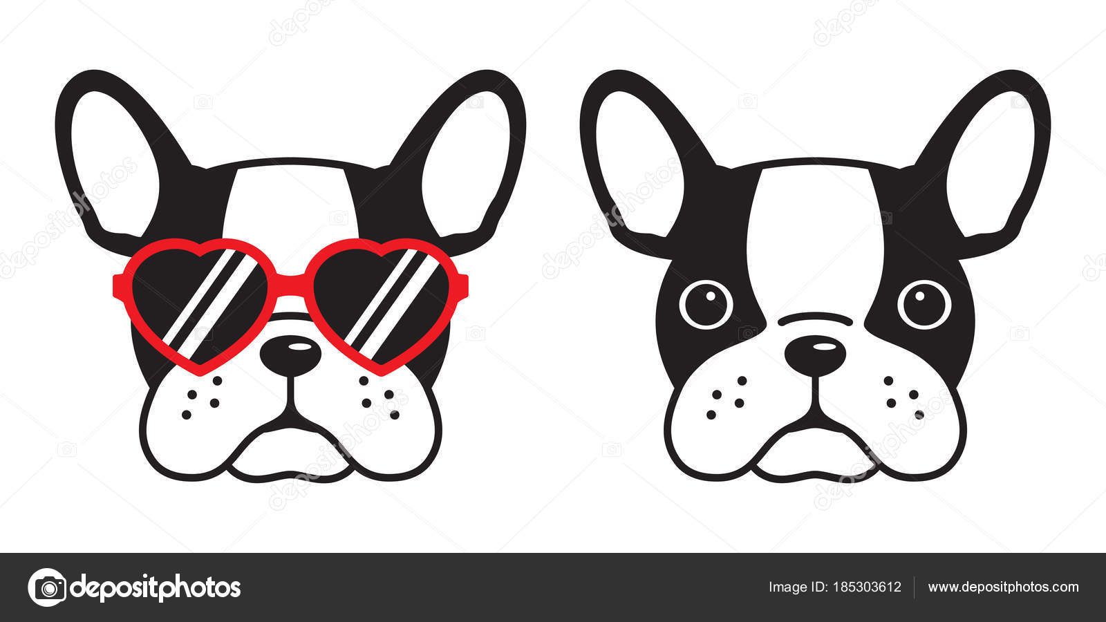 Óculos sol Ícone vermelho vetor francês bulldog cachorro coração