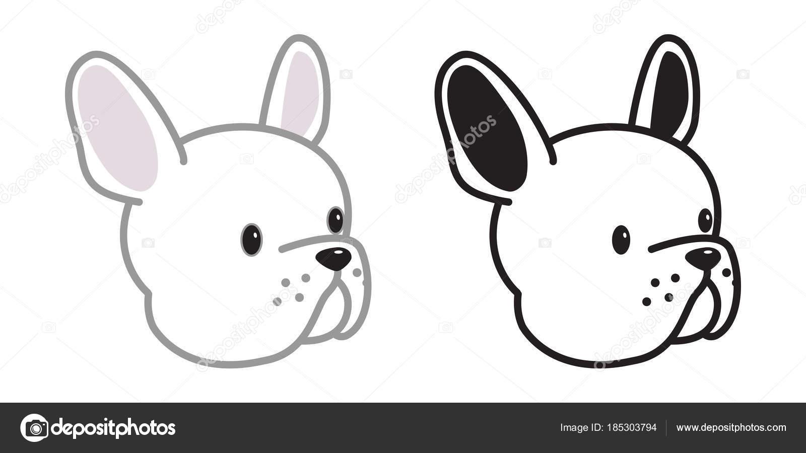 Dog French Bulldog Vector Icon Head Face Illustration Character