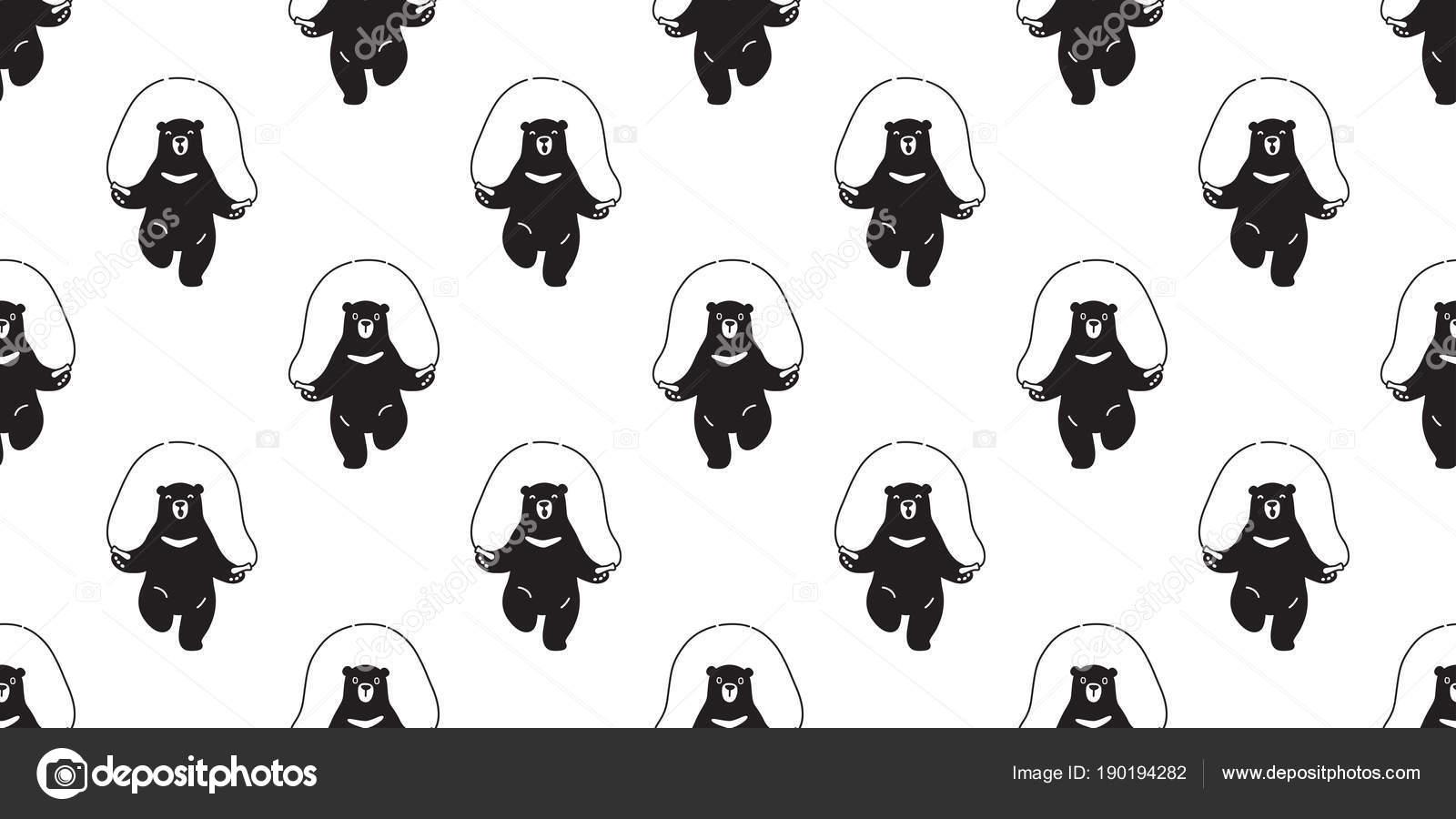 Oso Panda Oso Polar Cuerda Saltar Patrones Sin Fisuras Aisladas ...