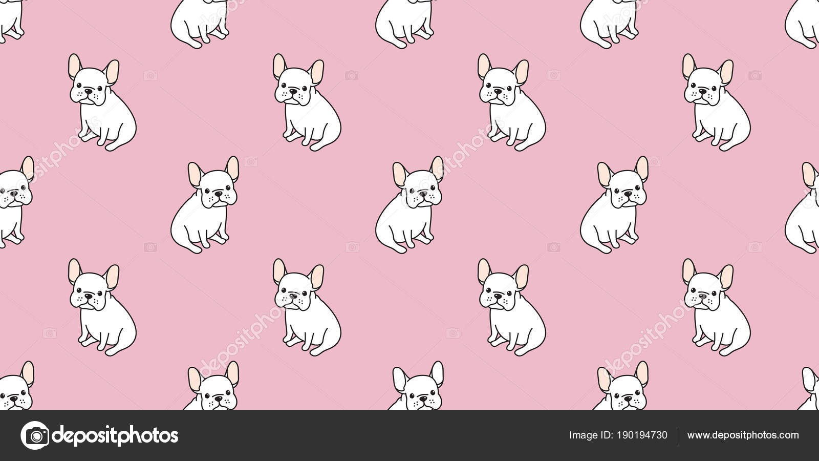 Dog Seamless Pattern French Bulldog Pug Sit Isolated Wallpaper Background Pink Vector By CNuisin