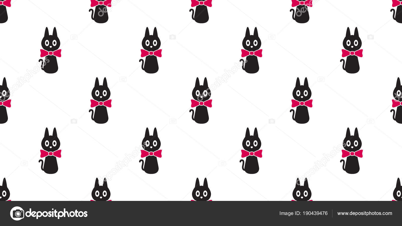Cat Seamless Pattern Kitten Bow Tie Vector Icon Isolated Wallpaper Background By CNuisin
