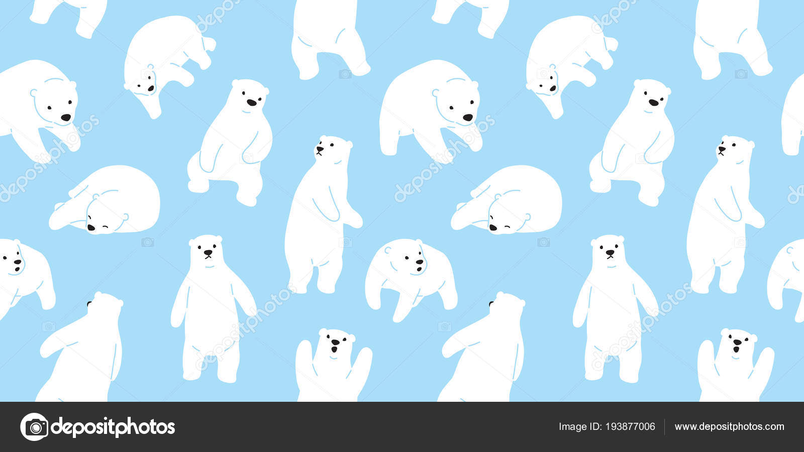 Bear Seamless Pattern Polar Bear Teddy Vector Isolated Wallpaper