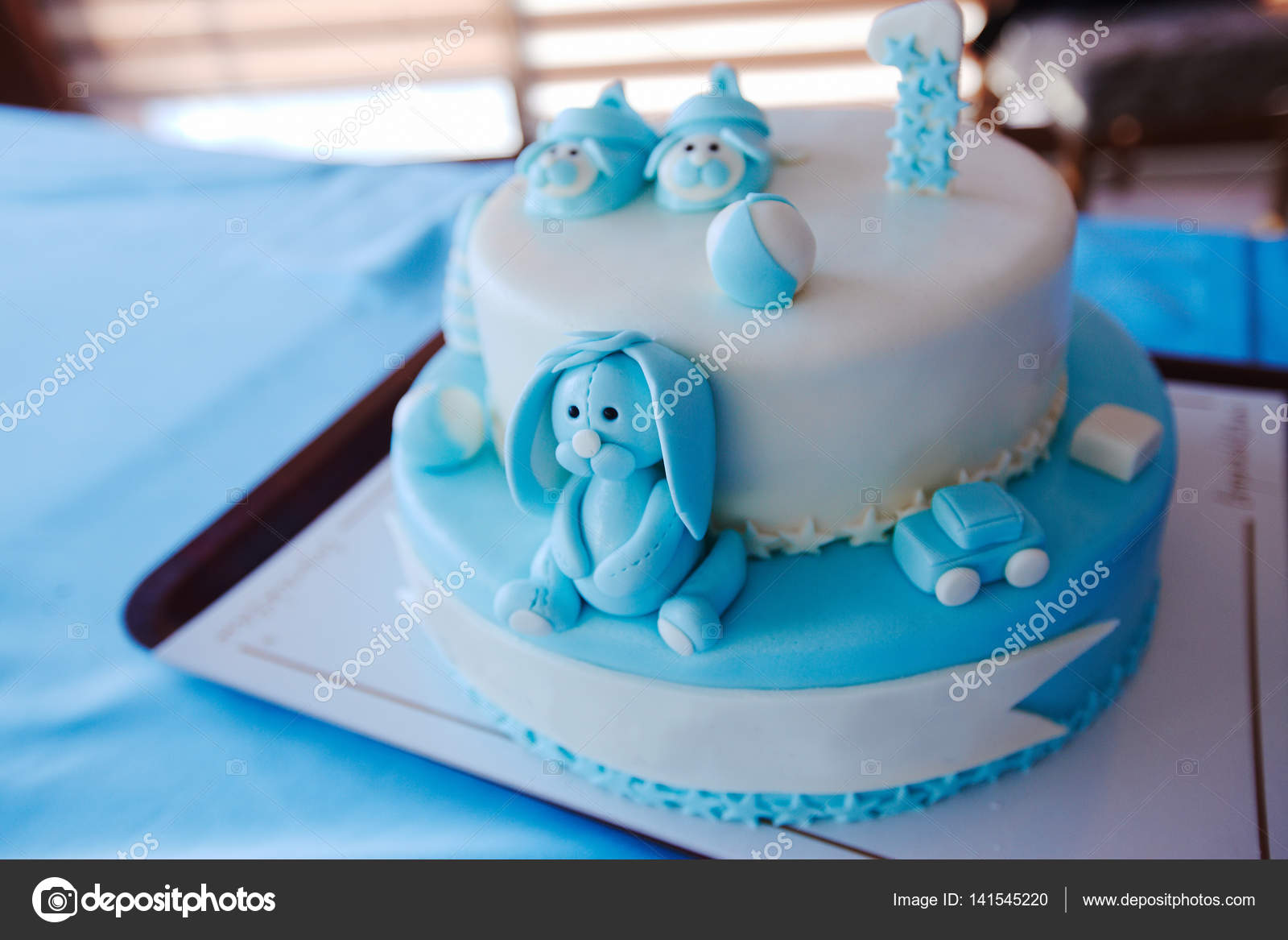 Birthday Cake For 1 Year Old Boy Stock Photo Adaco 141545220