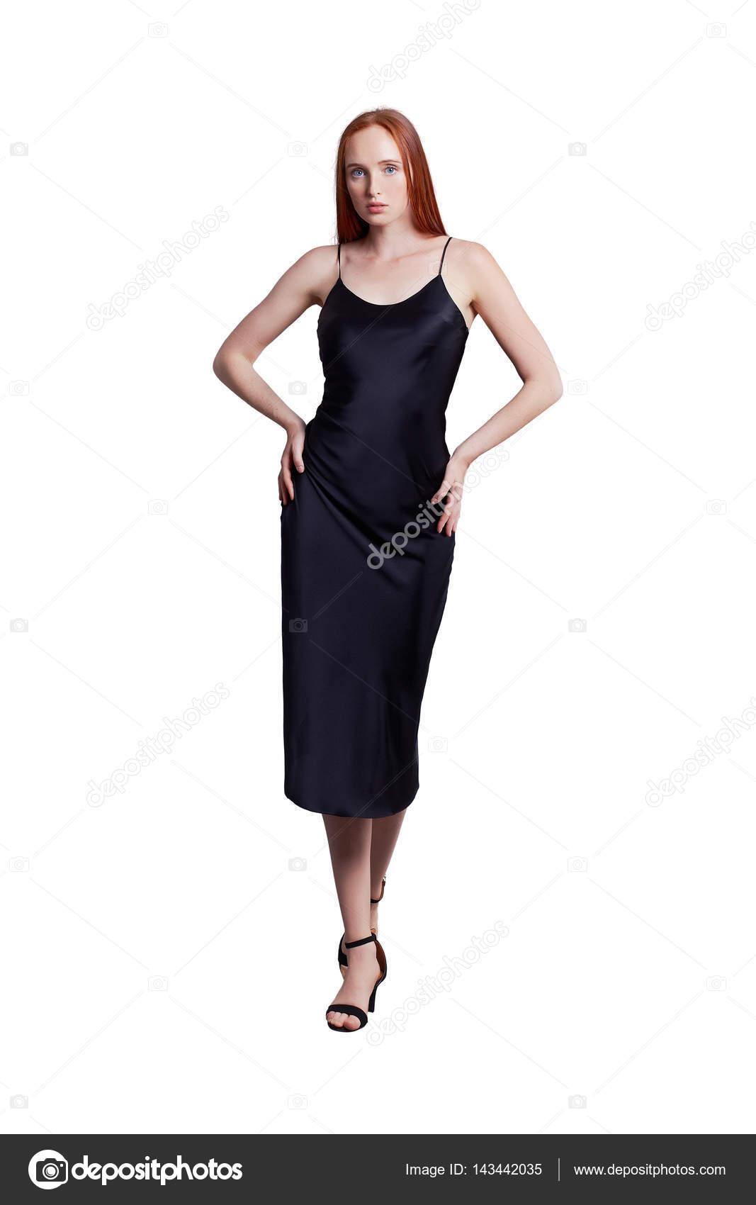Vestido negro largo seda