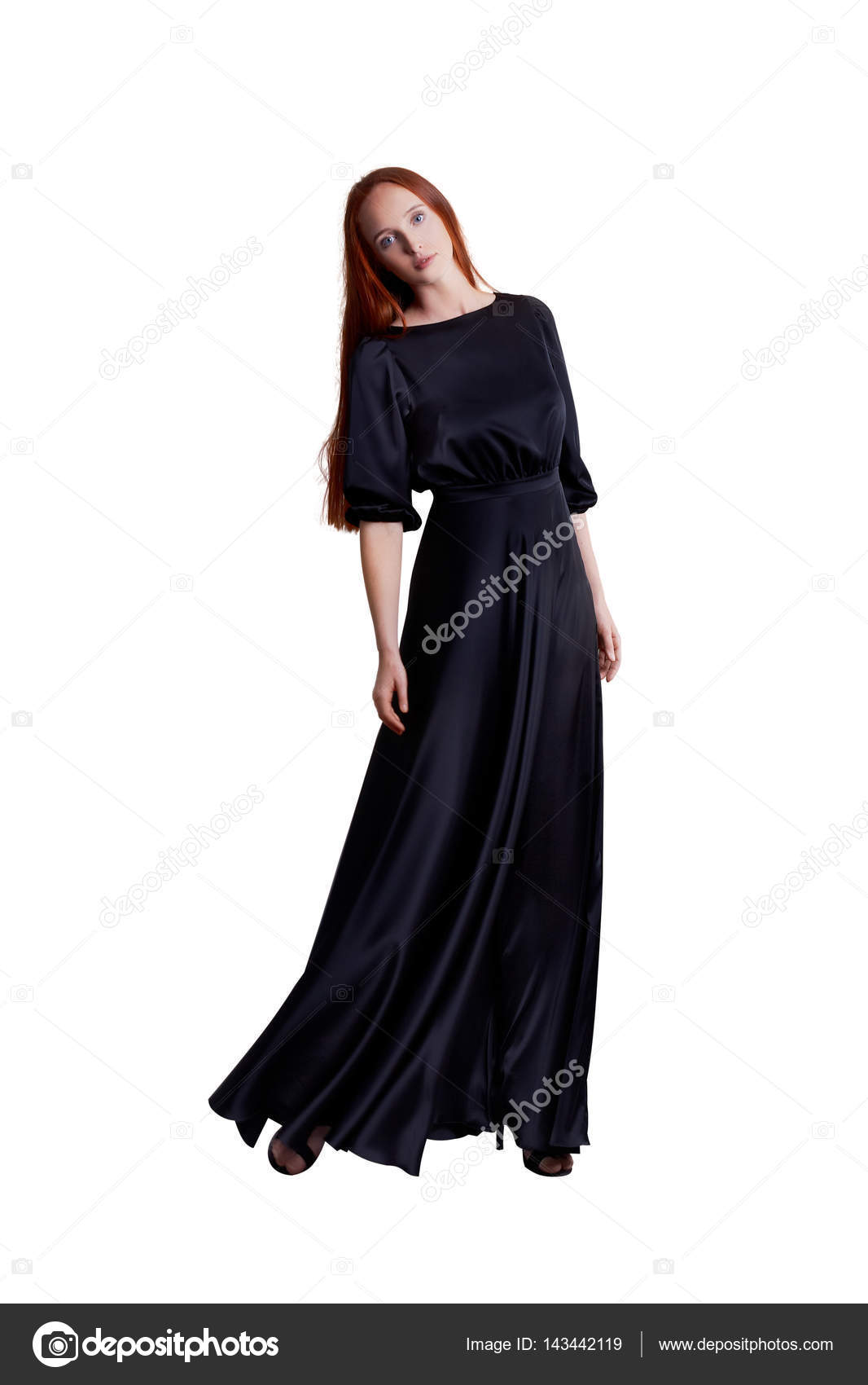 Beautiful young long skinny model with red hair wearing long amazing ...