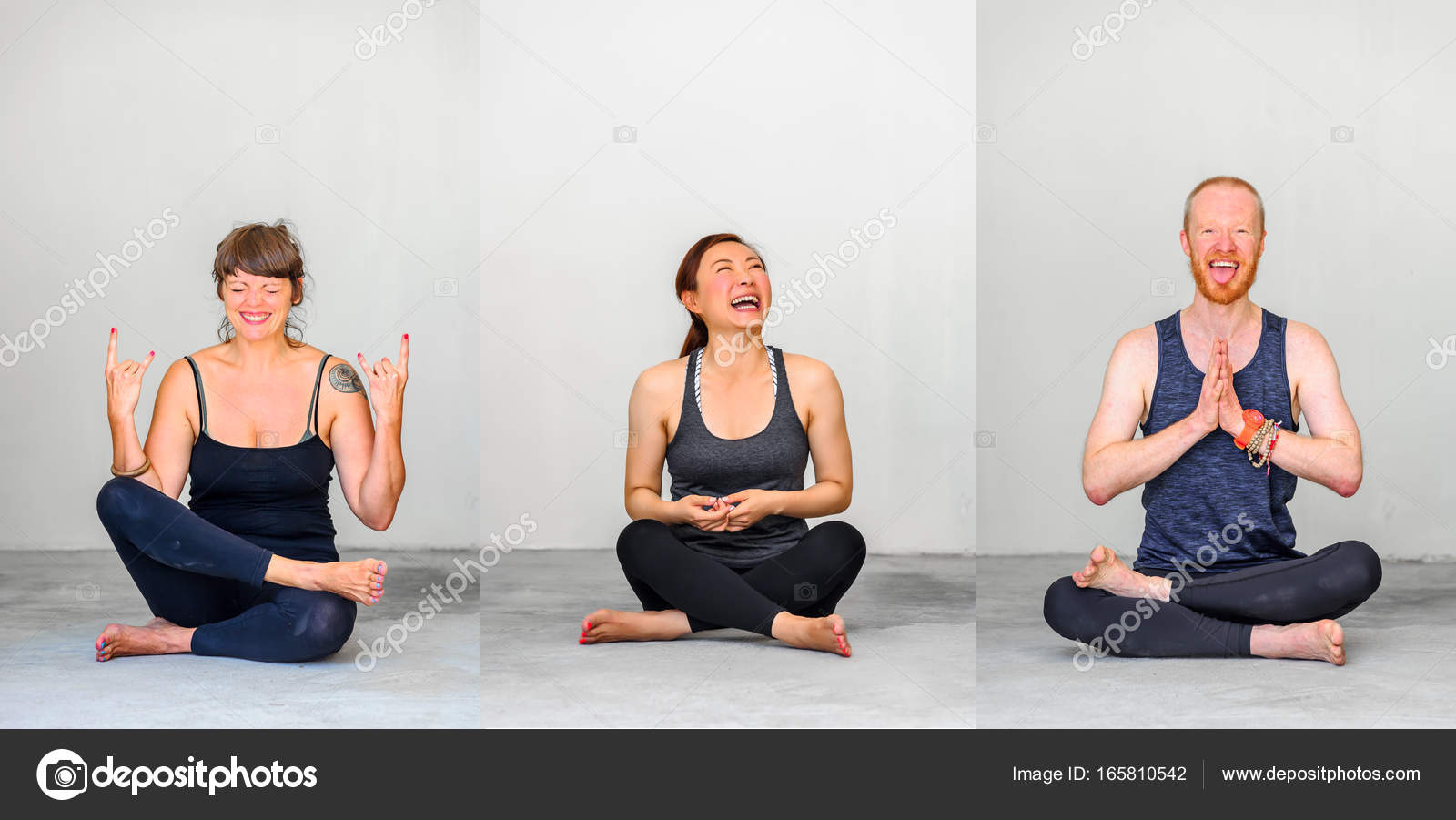 yoga students showing different yoga poses three people stock
