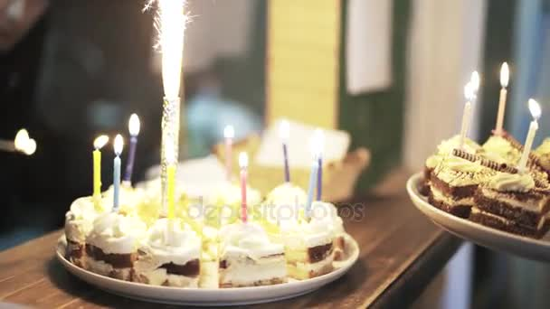 Two Birthday Cakes With Sparklers At Children S Fair Stock Footage