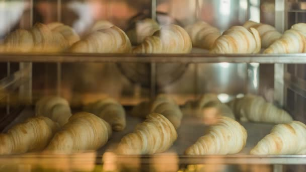 Classic French croissant are baking in the oven. Time lapse shot.