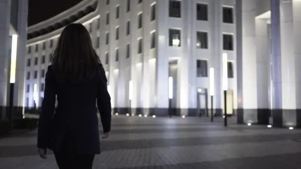 Pohled zezadu na podnikatelka chůzi v noci městské ulice