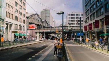 BERLIN - SEPTEMBER 18: Timelapse establishing shot of traffic on Friedrichstrasse, September 18, 2017 in Berlin, Germany