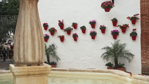 Row of red flower pots on white wall near fountain