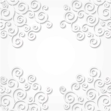 Pattern corners curls made of paper. White background. Scroll frame 3D effect.
