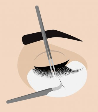 Procedure for eyelash extension. Master tweezers add the false or fake cilia to the client.