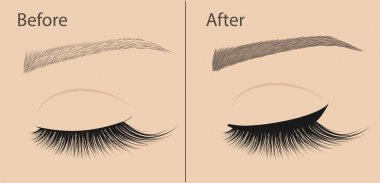 Permanent makeup. Eyeliner and correction eyebrow shaping. Before and after. Salon procedure.