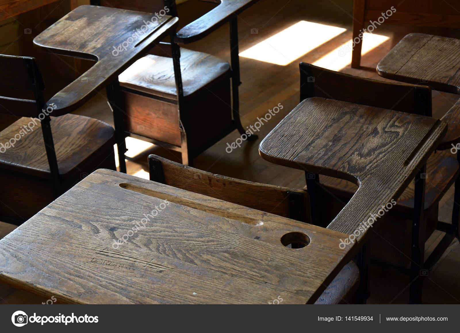 Old Wooden School Desks — Stock Photo © shutterbug68 #141549934