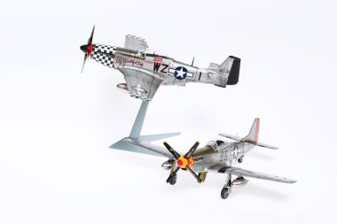 Scale model of P-51 Mustang fighter in WWII.