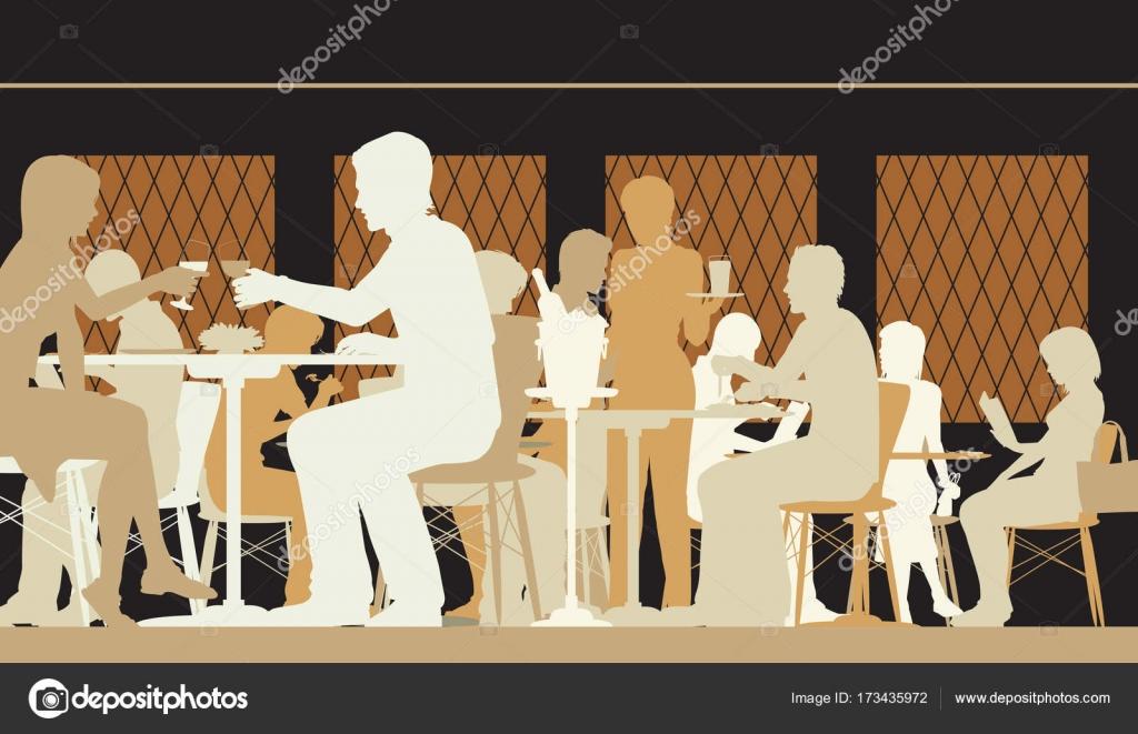 busy restaurant scene. Toned Restaurant Scene \u2014 Stock Vector Busy