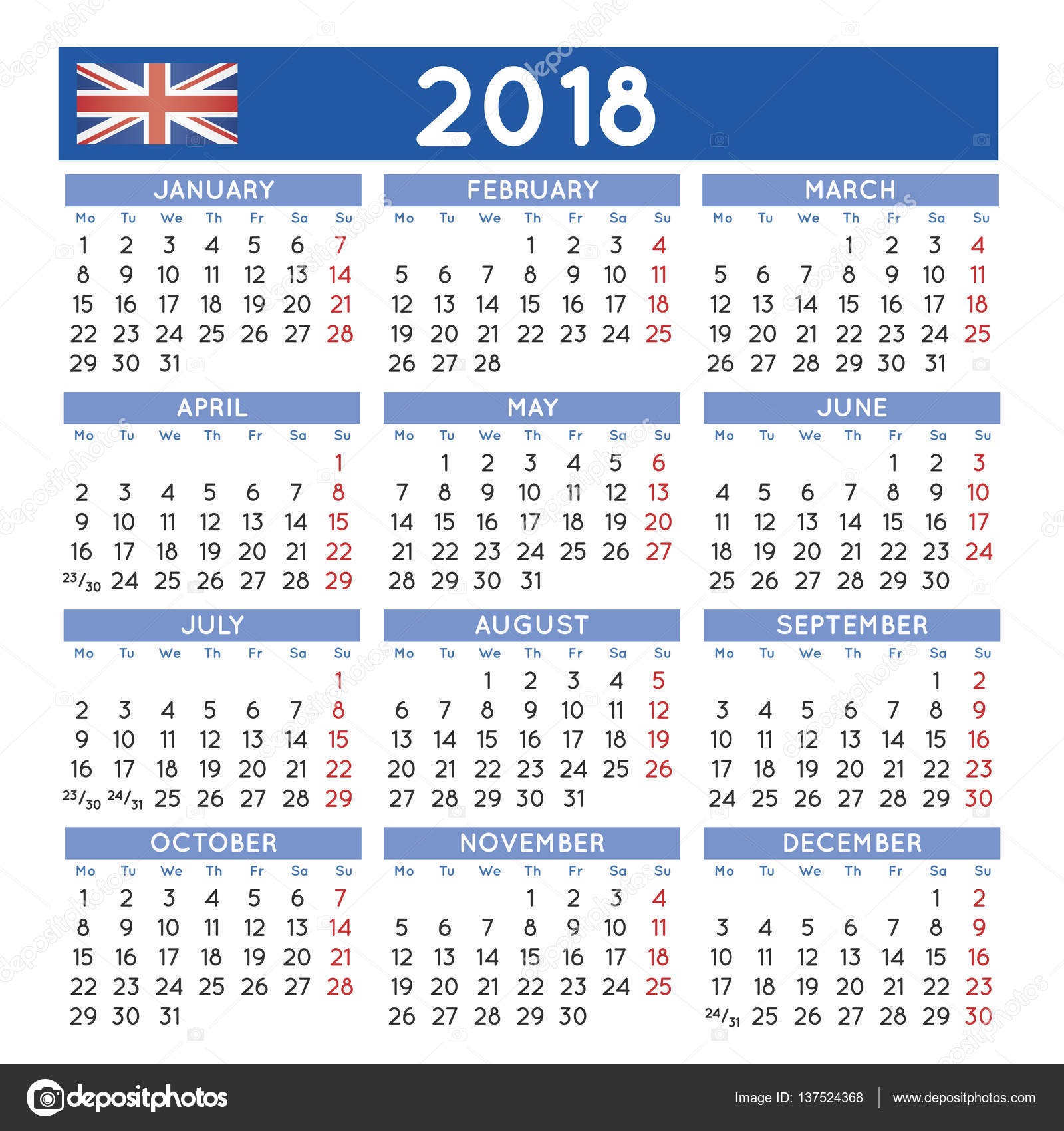 Calendar English : Squared calendar english uk week starts on monday