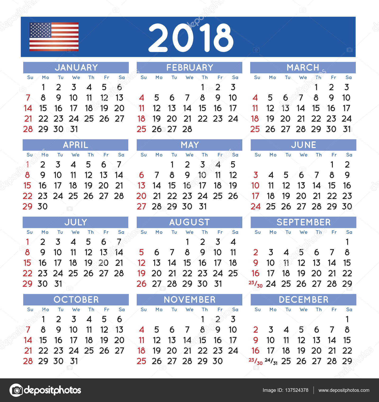 2018 Squared Calendar English Usa Stock Vector C Alfonsodetomas