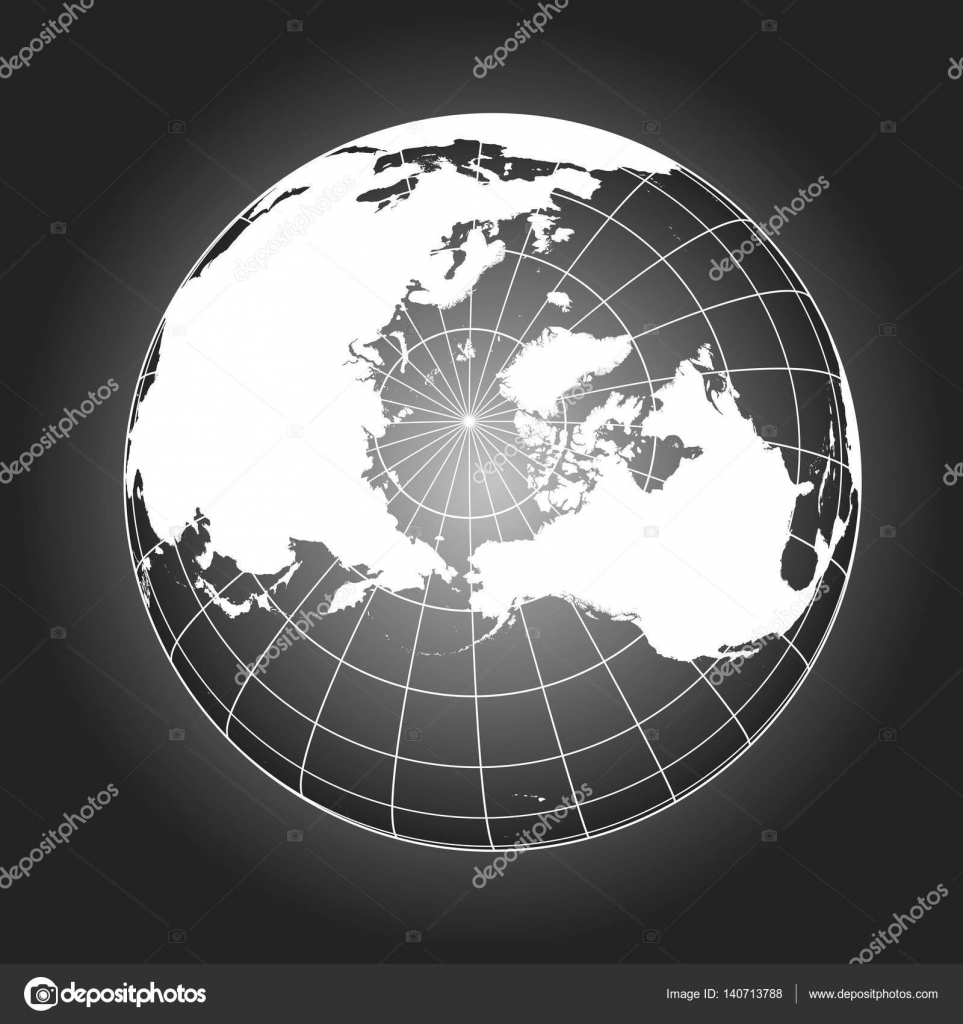 North pole map in black and white stock vector alfonsodetomas north pole map europe greenland asia america russia earth globe worldmap elements of this image furnished by nasa vector by alfonsodetomas gumiabroncs Image collections