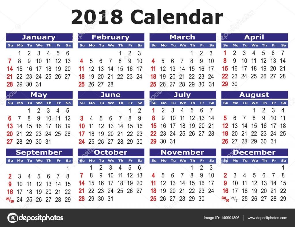 School Calendar 2018 In Sri Lanka : 简单的矢量日历 — 图库矢量图像 alfonsodetomas