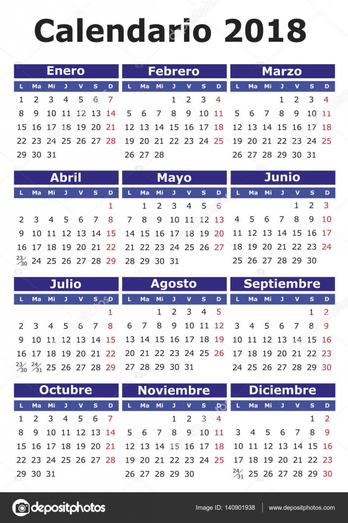 2018 vector calendar in spanish easy for edit and apply calendario 2018 vector by alfonsodetomas