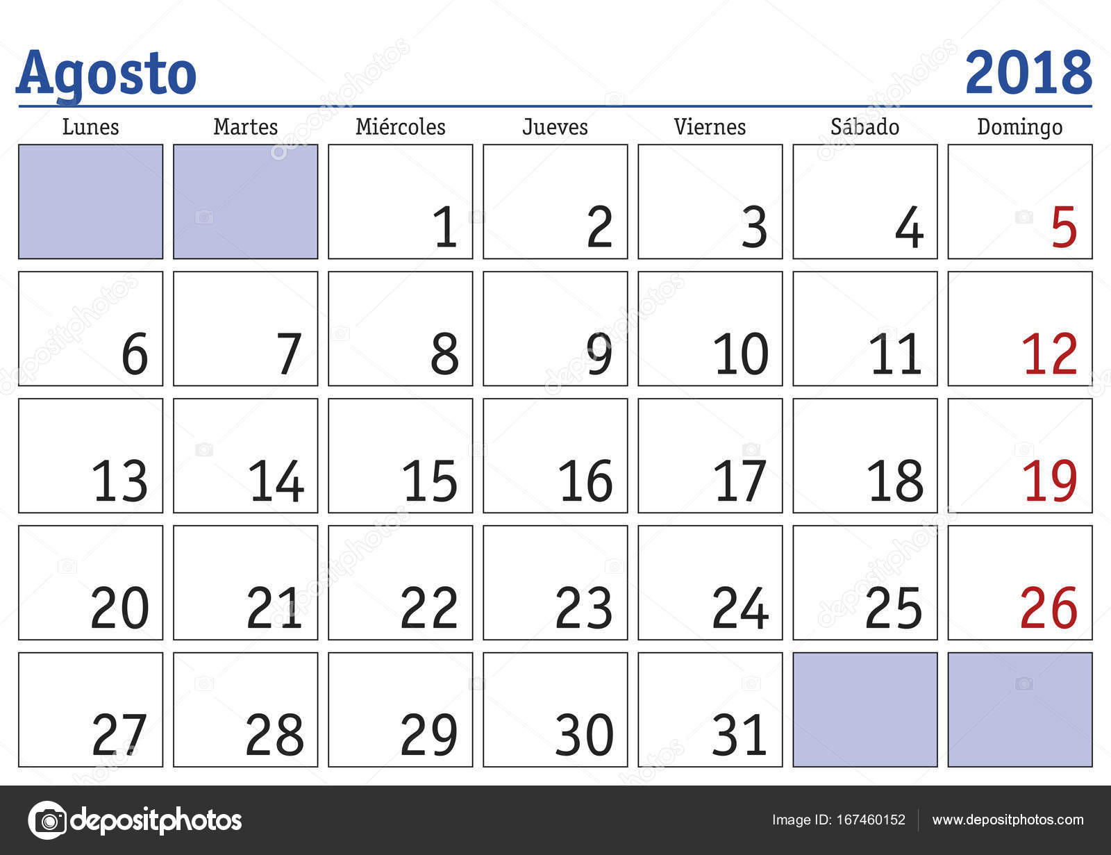 agosto 2018 wall calendar spanish stock vector