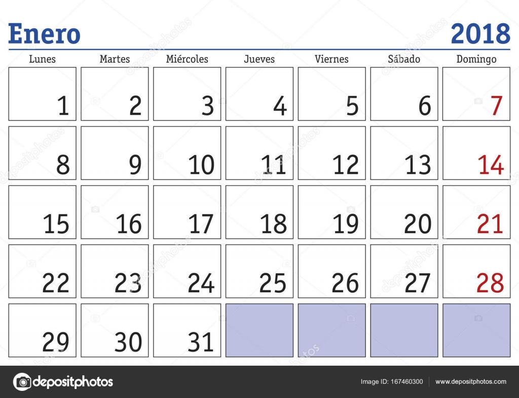 january month in a year 2018 wall calendar in spanish enero 2018 calendario 2018 vector by alfonsodetomas