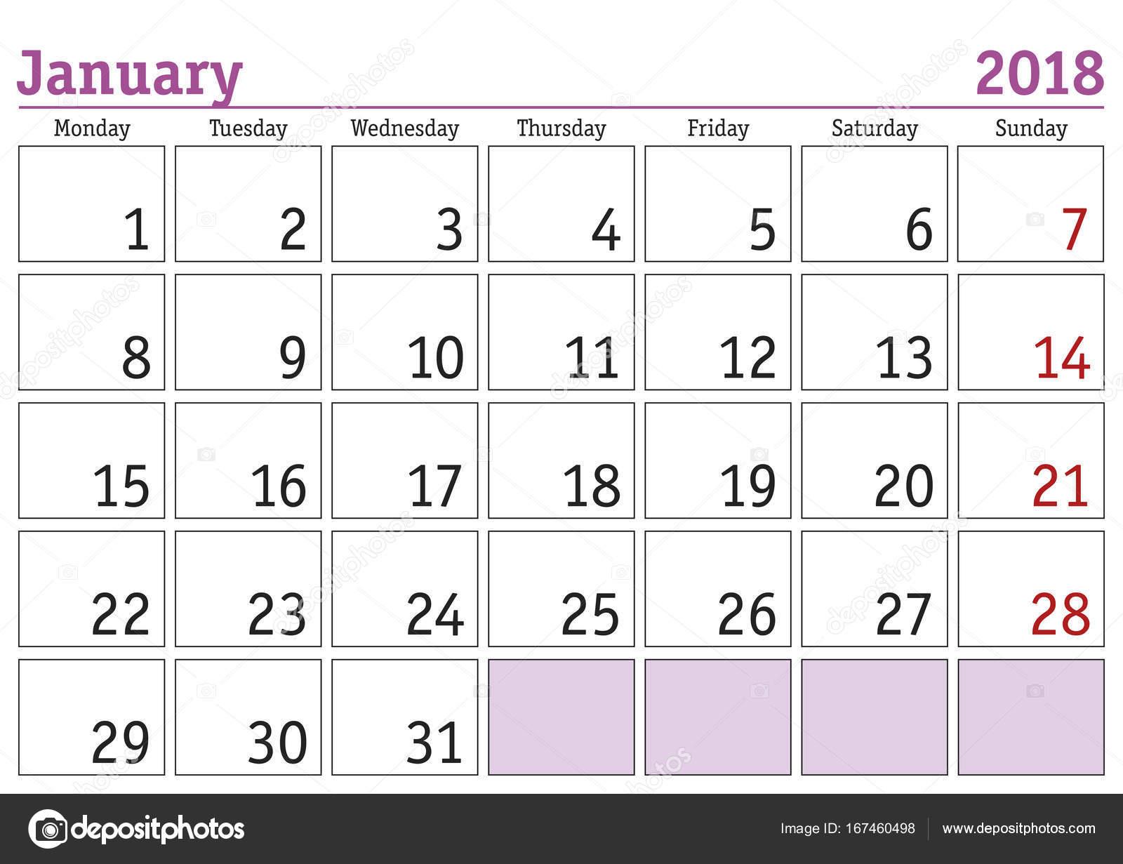 simple digital calendar for january 2018 vector printable calendar monthly scheduler week starts on monday english calendar vector by alfonsodetomas